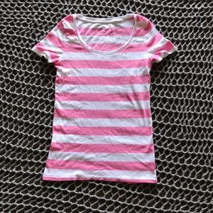 Stripe scoop neck t shirt